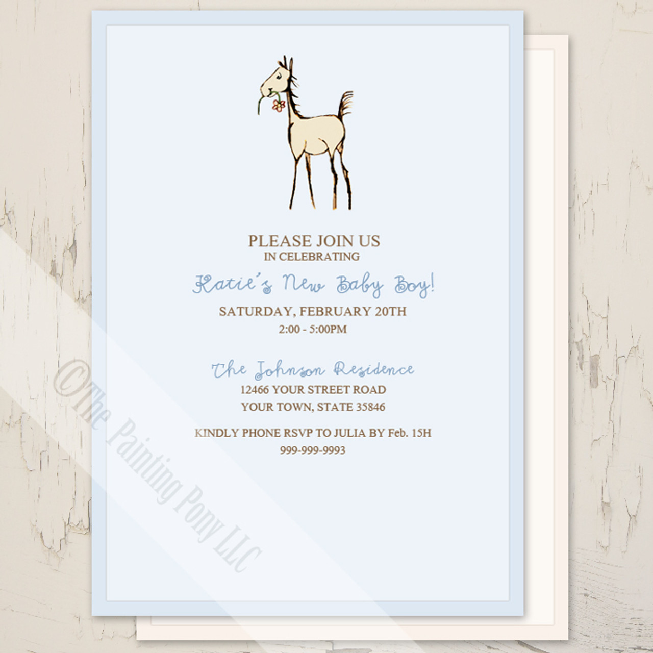 Foal with flower baby shower invitation 10 pk the painting pony available in pink or blue colors filmwisefo