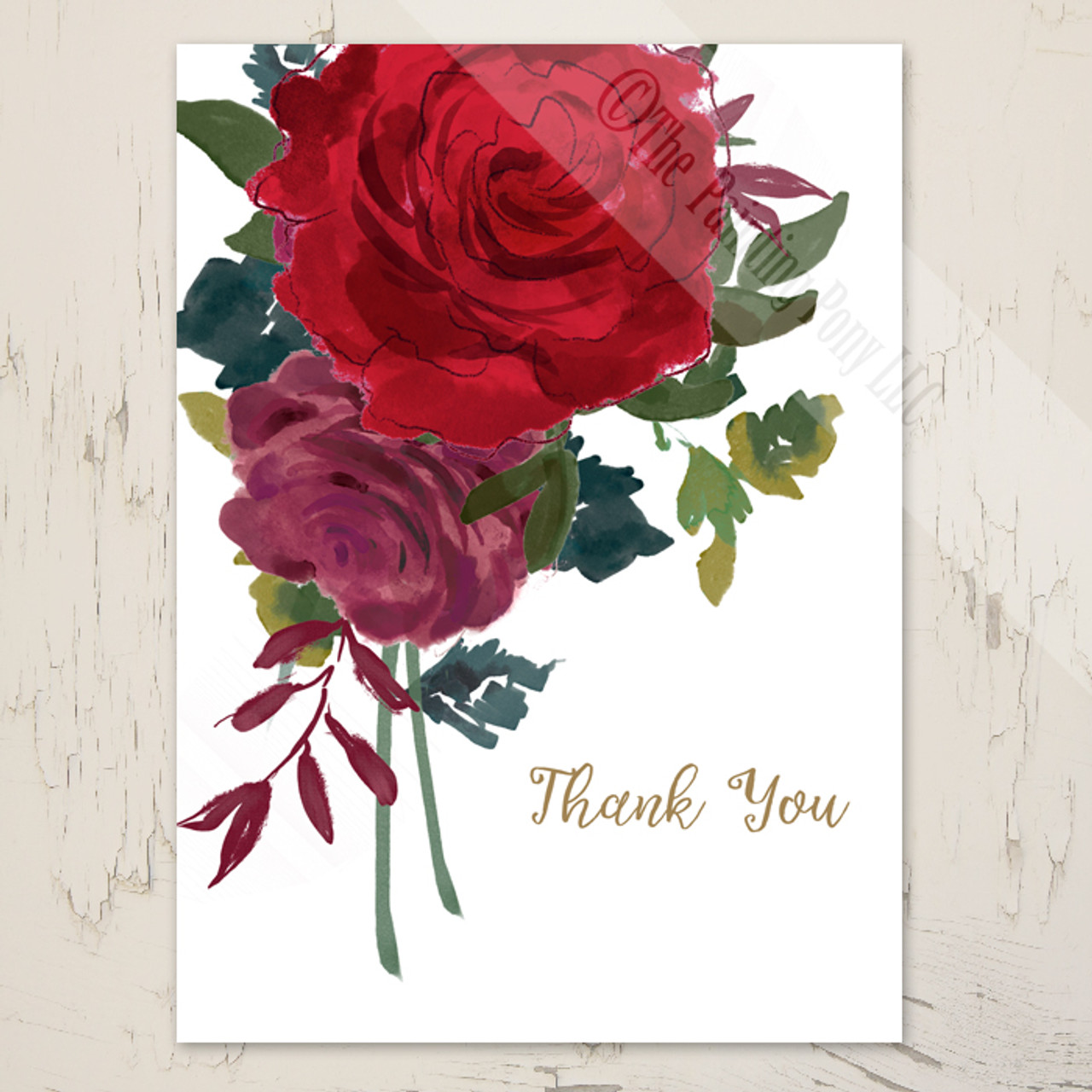 watercolor roses wedding thank you cards 10 pk the painting pony
