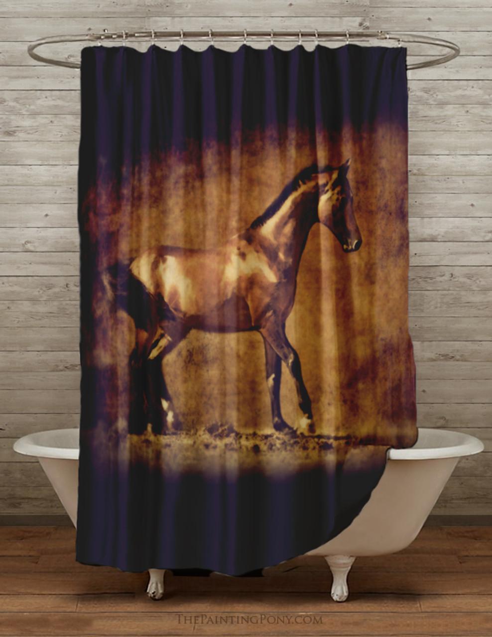 Golden Horse Equestrian Shower Curtain