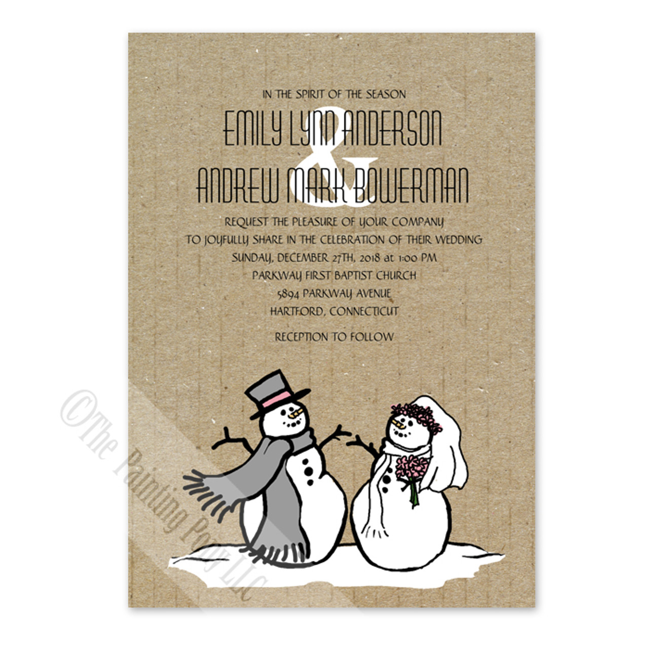 Snowman and Bride Christmas Wedding Invitation (10 pk) - The ...