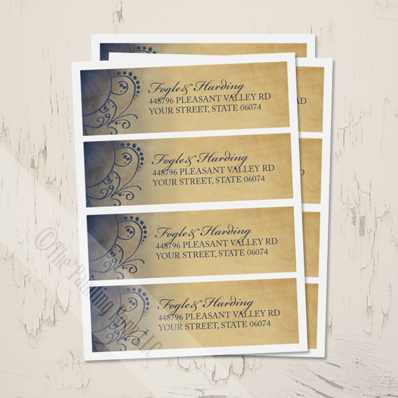 navy and gold bohemian return address labels the painting pony