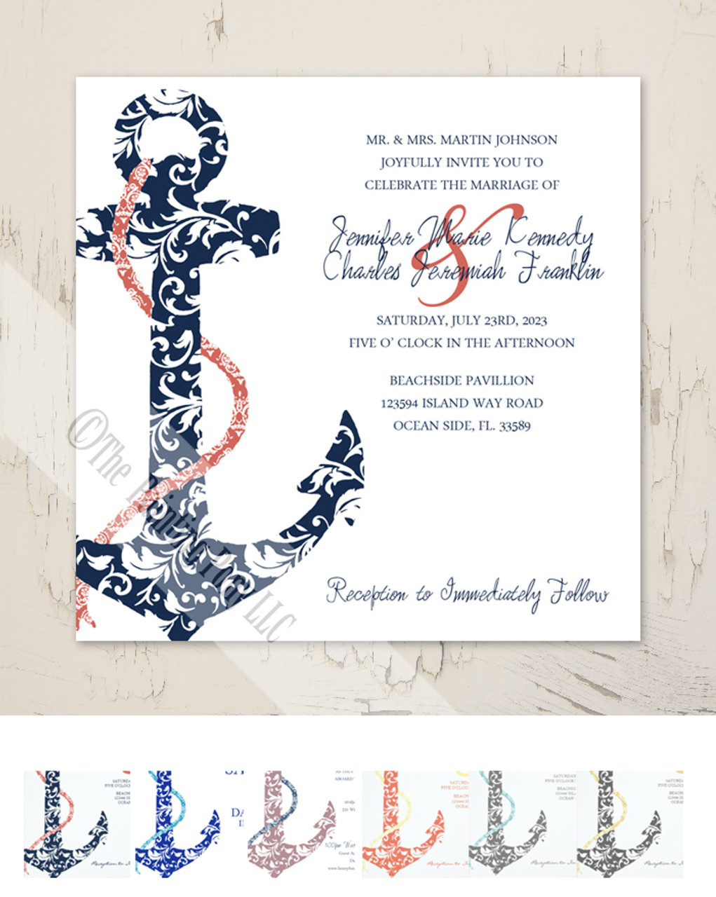 Navy And C Anchor Wedding Invitation 25pk