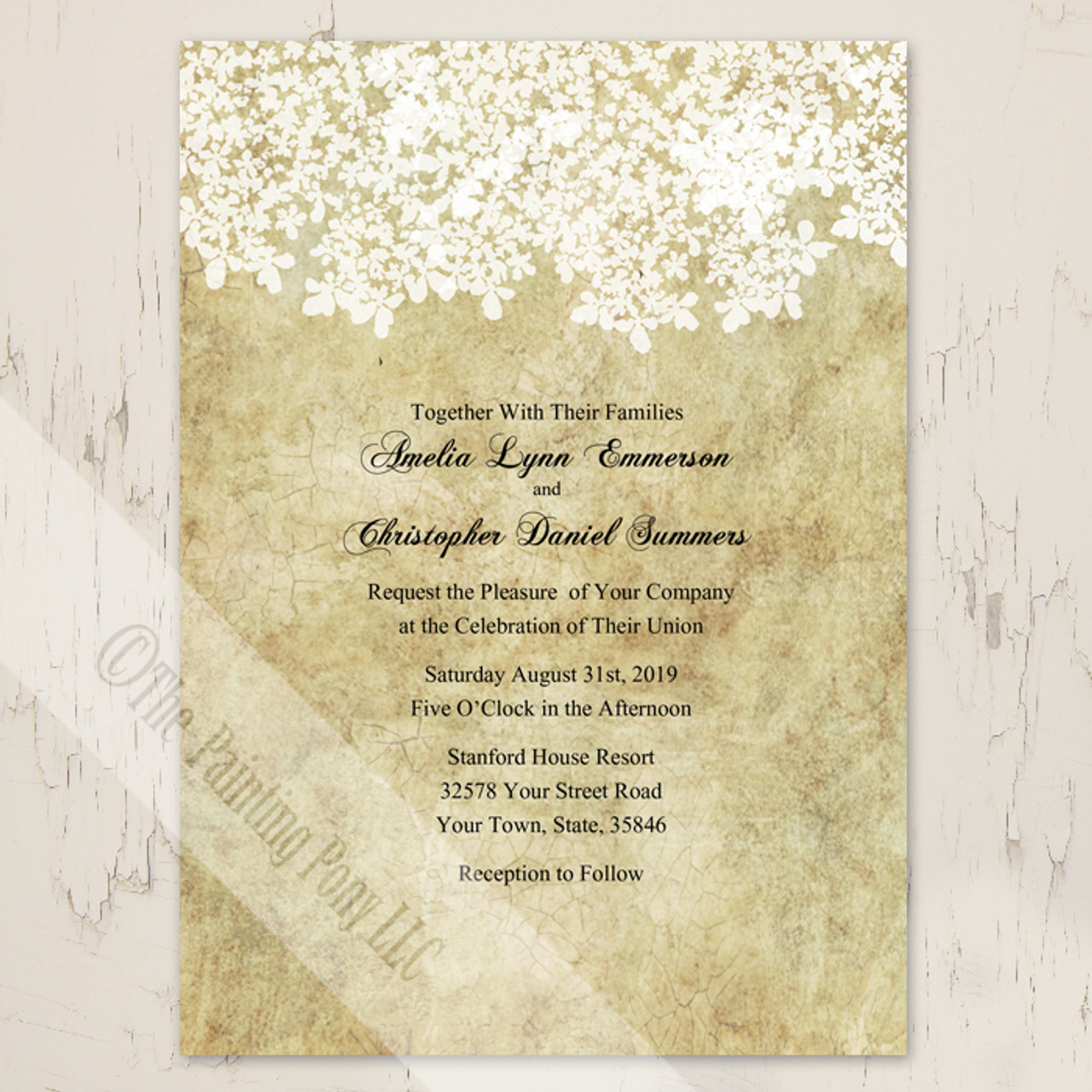 Vintage Queen Anne\'s Lace Wedding Invitation (10 pk) - The Painting Pony