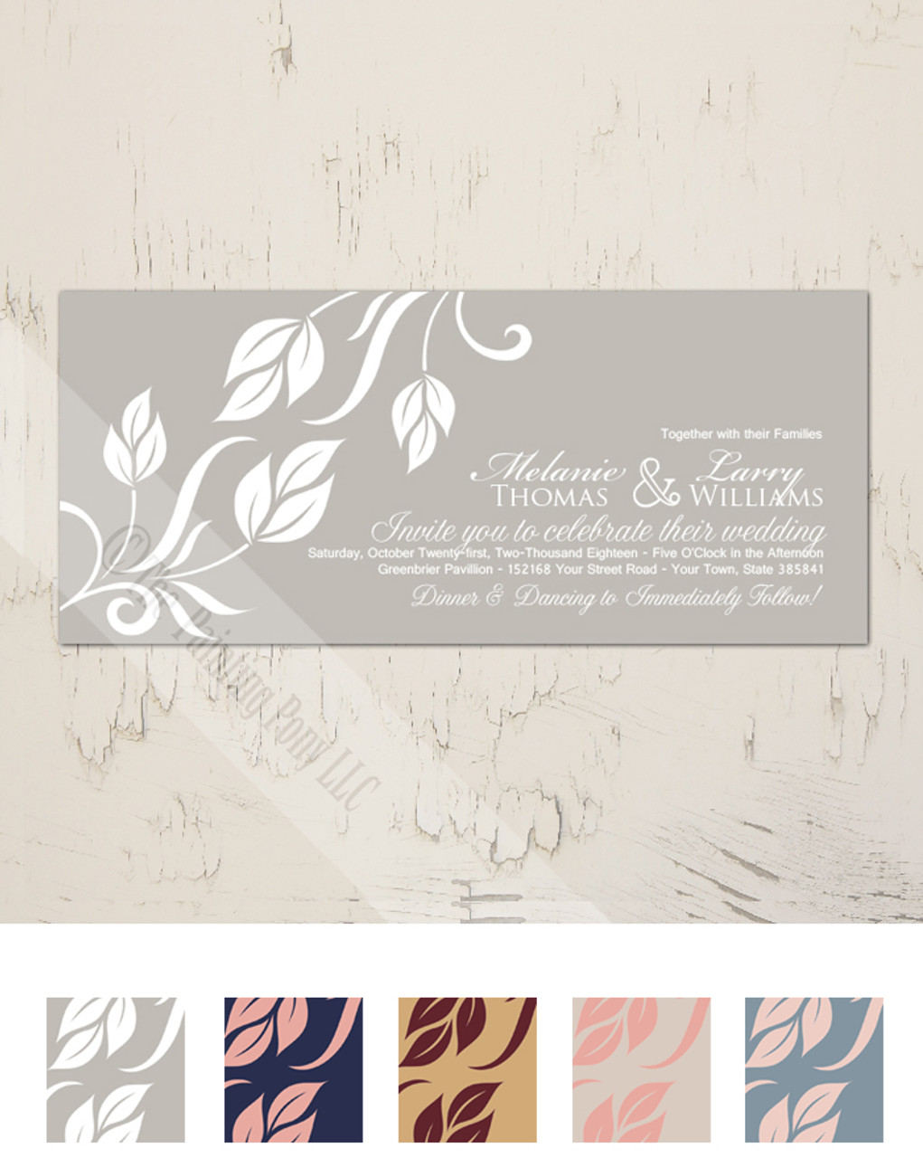 Side Leaves Flourish Wedding Invitation (10 pk) - The Painting Pony
