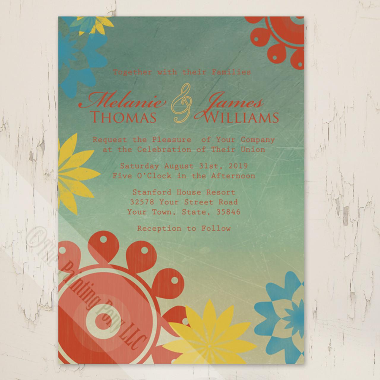 Retro Floral Wedding Invitation 10 Pk The Painting Pony