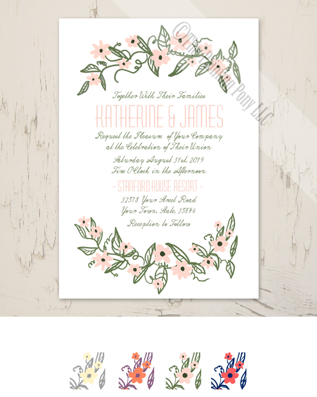 Floral Banner Wedding Invitation (10 pk) - The Painting Pony