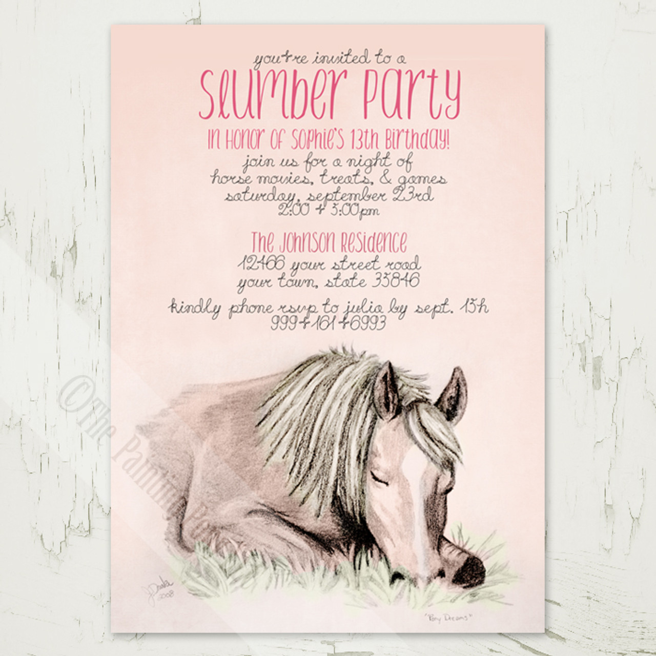Pony dreams slumber party birthday invitation 10 pk the painting girls 13th birthday slumber party invitations with a horse or pony theme filmwisefo