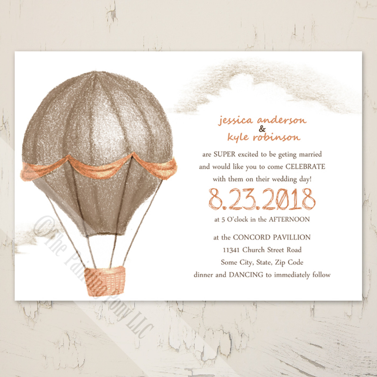 Hot Air Balloon Carnival Wedding Invitation (10 Pk)