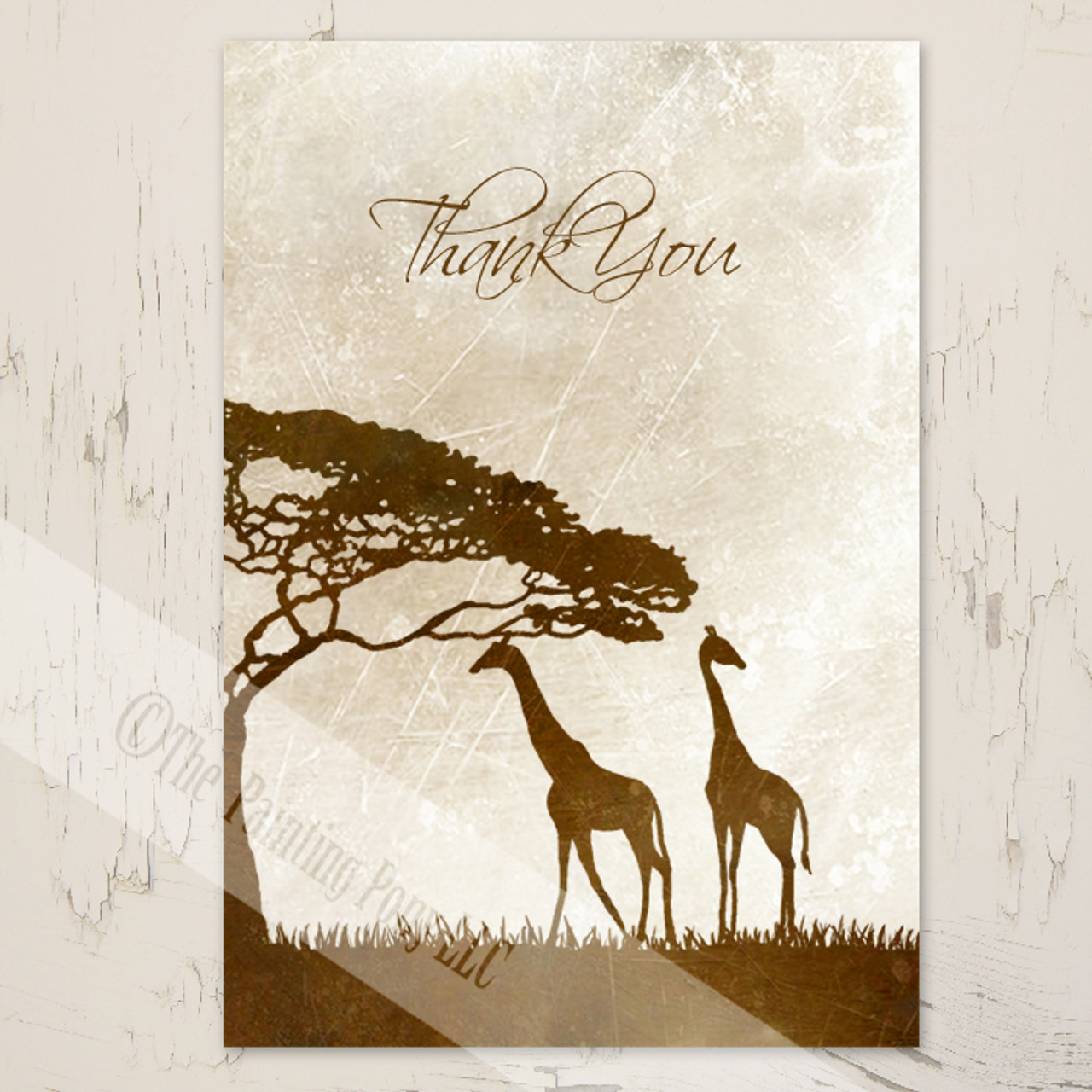 thank you note with african giraffes - Thank You Note Cards