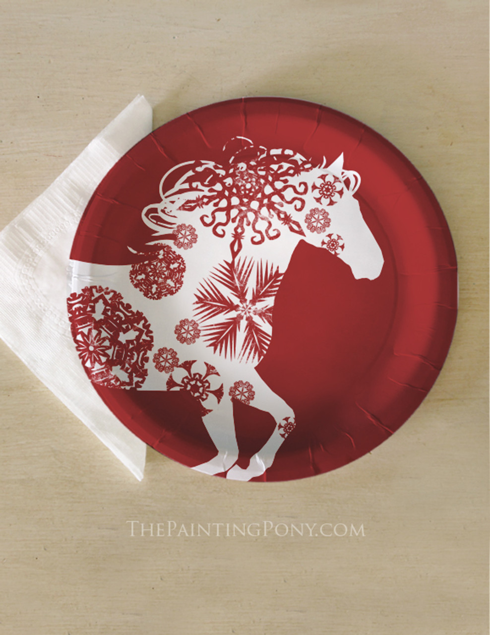 Christmas Snowflake Horse Paper Party Plates (8 pk) - The Painting Pony