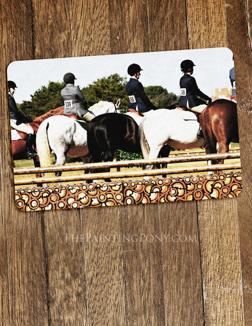 Horse Show Line Up Equestrian Themed Pet Food Mat