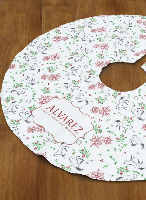Personalized Country Floral Horse Tree Skirt