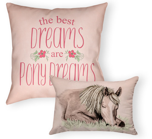 Pony Dreams Equestrian Throw 2 Pillow set