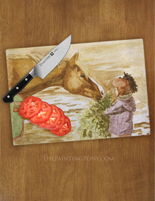 Morning Hay Pony Themed Glass Cutting Board