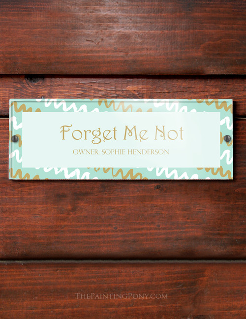 Mint and Gold abstract Art Acrylic Horse Stall Name Plate