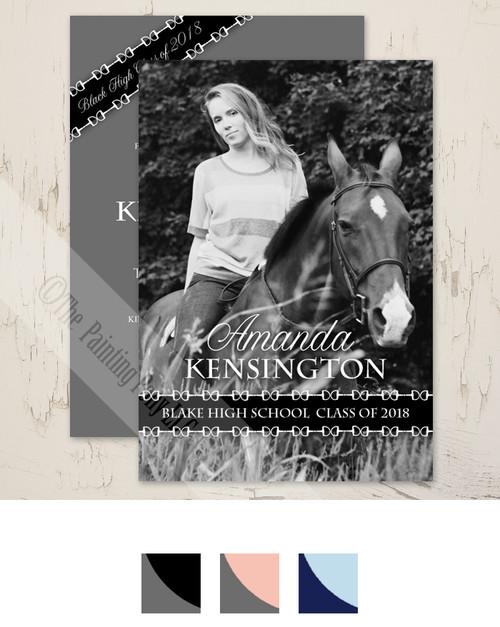 Equestrian Graduate High School or College Graduation Party Invitations.