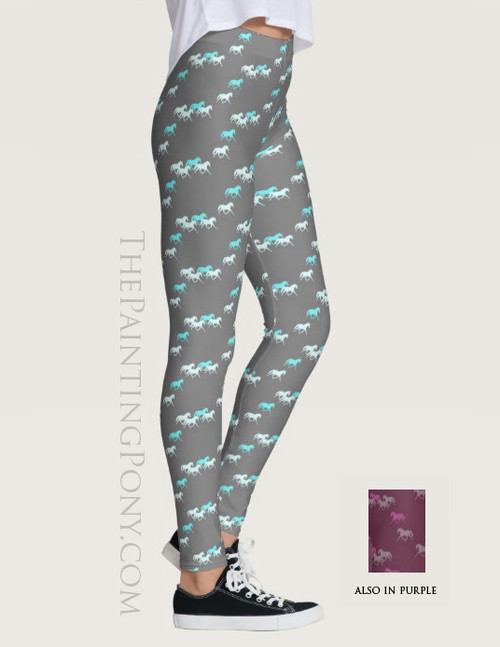 Trotting Horse Herd Equestrian Leggings