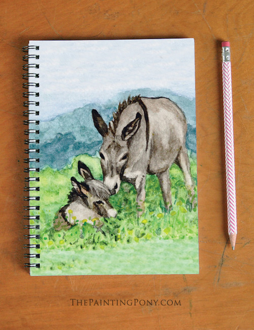 Miniature Donkies Art Spiral Notebook