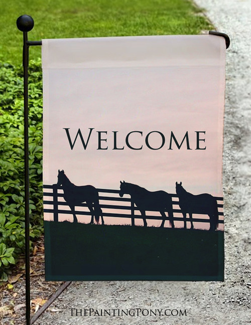 Horses at the Fence Welcome Sign Garden Flag