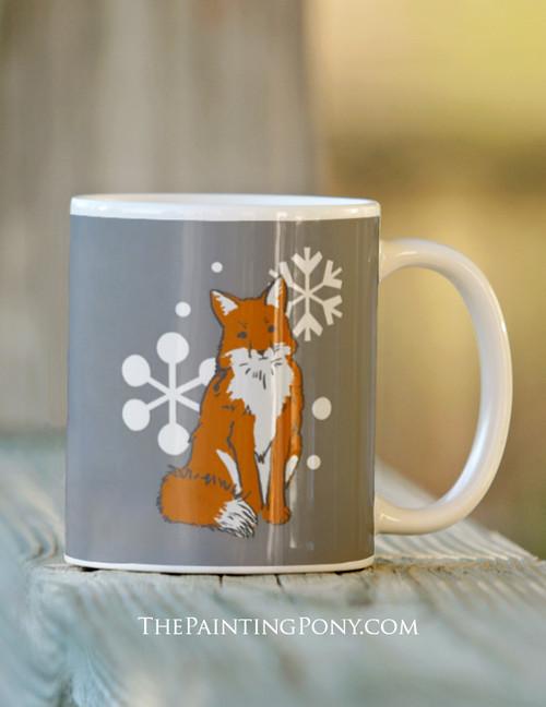 Snowflake Fox Hunting Christmas Mug