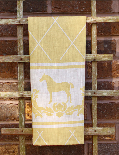 Yellow Damask Horse Tea Towel