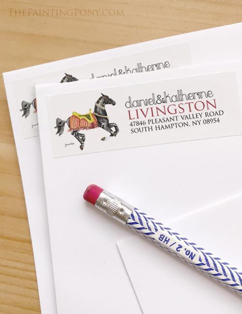 Akhal-teke horse watercolor art Return Address Labels