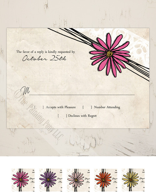 Daisy flower wedding response card
