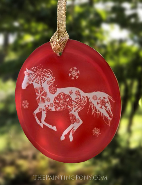 Red Frosted Glass Snowflake Horse Christmas Ornament