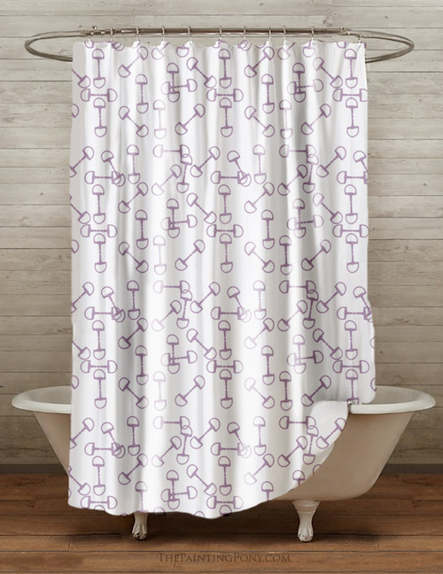 Horse Bits Pattern Equestrian Themed Shower Curtain