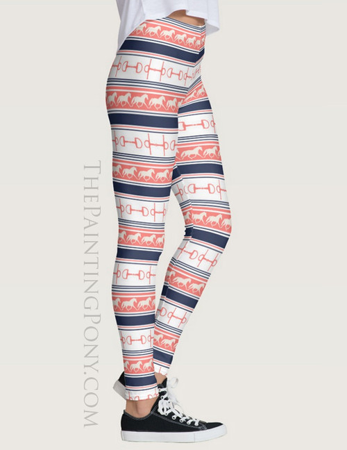 Trotting Ponies and Bits Striped Equestrian Leggings