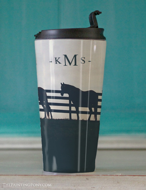 Monogramed Horses At the Fence Travel Tumbler 15oz