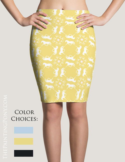 Trotting Horse Pattern Equestrian Pencil Skirt