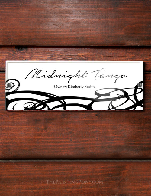 Modern Black and White Swirls Acrylic Horse Stall Name Plate