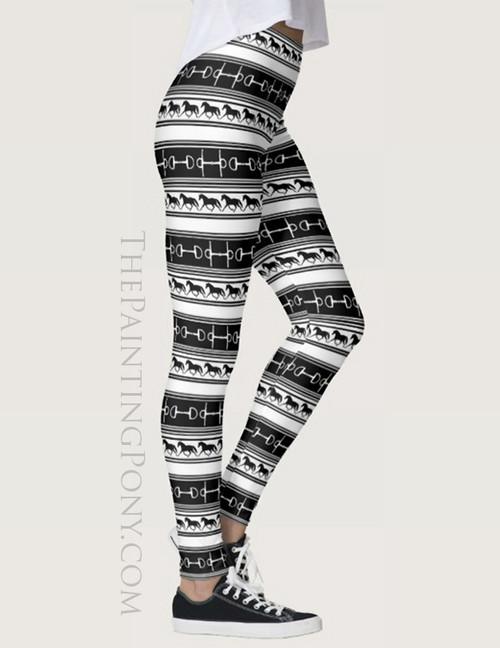 Black and White Trotting Horse Pattern Equestrian Leggings