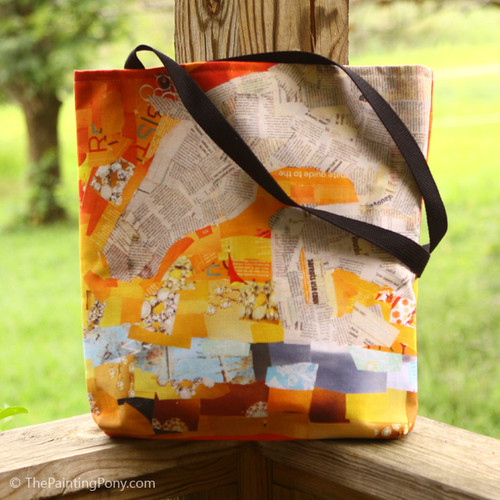 Yellow and orange jumping horse collage ring side tote bag.