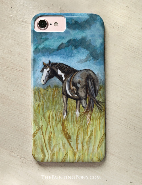 Black and white Paint Horse Watercolor Art Phone Case