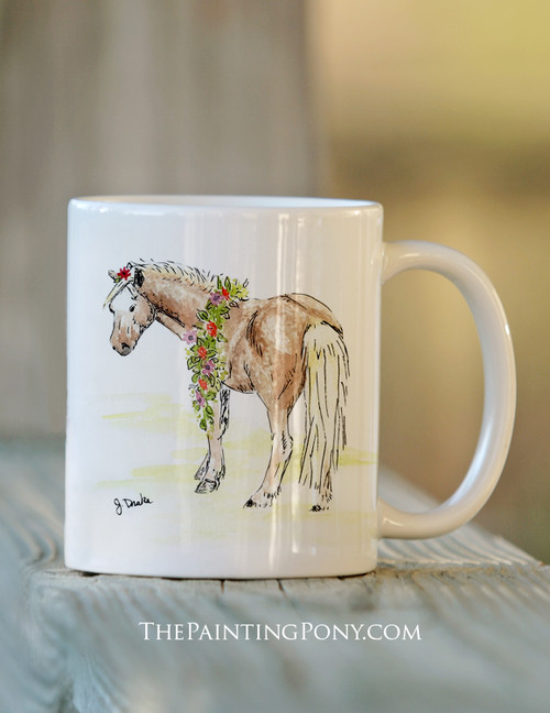Ceramic Pony Art Equestrian Coffee Mug
