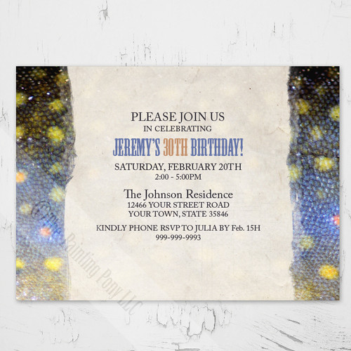 Brook Trout Fish Scales Fly Fishing Birthday Party Invites
