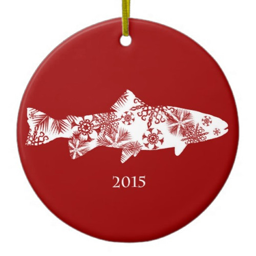 Snowflake Trout Fly Fishing ceramic ornament