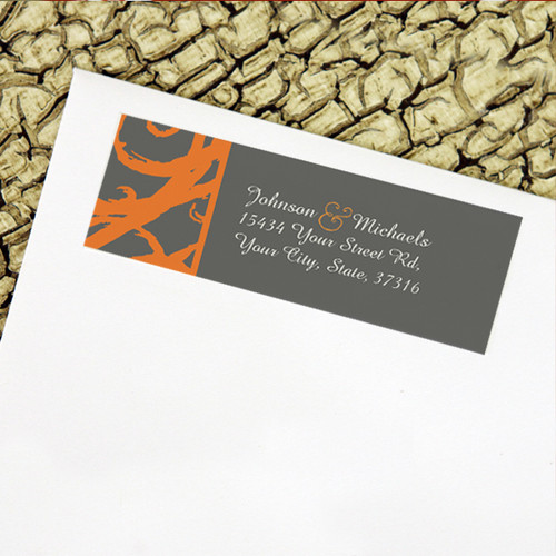 Orange and Grey Sketchy Frame Wedding Return Address Labels
