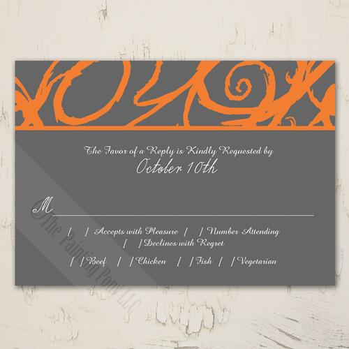Orange and Grey Sketchy Frame Wedding RSVP card (10 pk)