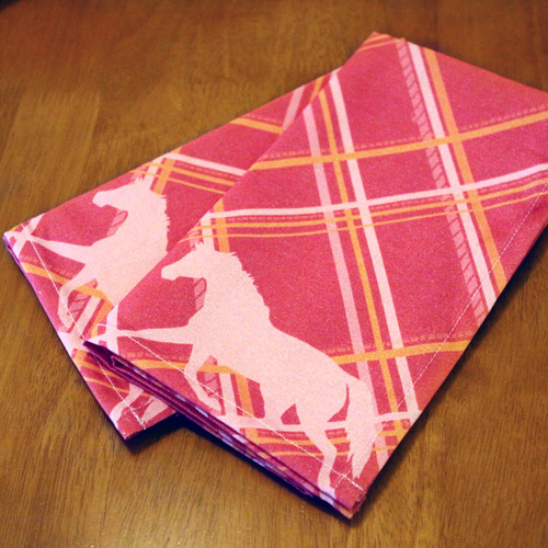 Plaid Horse Pattern Cloth Napkin