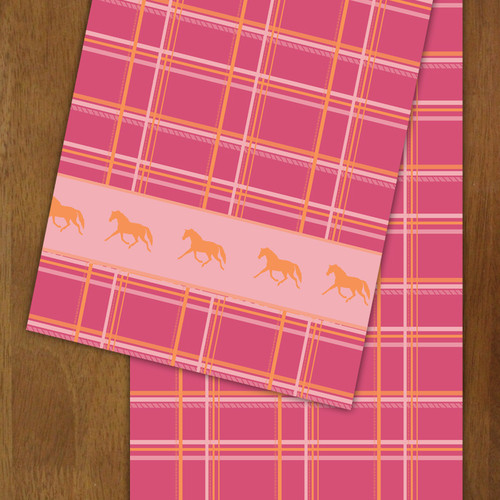 Plaid Horse Patterned Table Runner