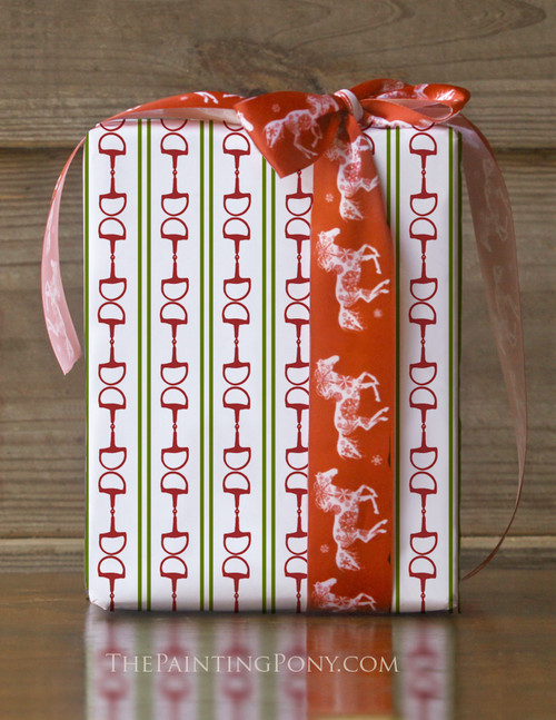 Red and Green Striped Horse Bits Christmas Gift Wrapping Paper