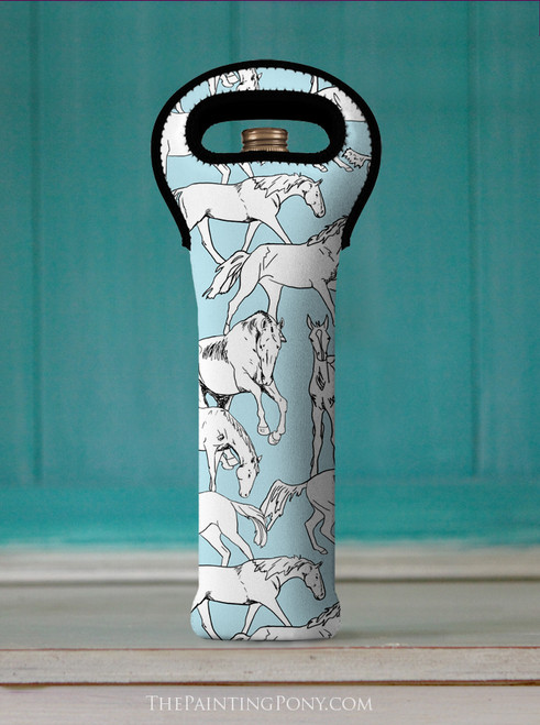 Horses All Over Equestrian Wine Tote