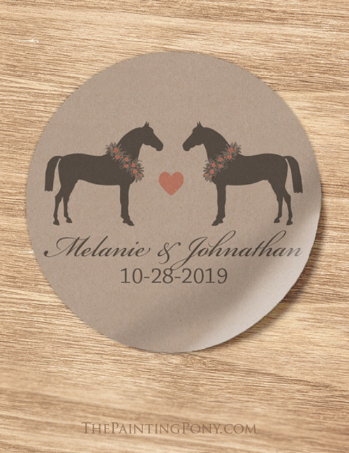 Whimsical Heart Horse Wedding Envelope Seal or Favor Stickers