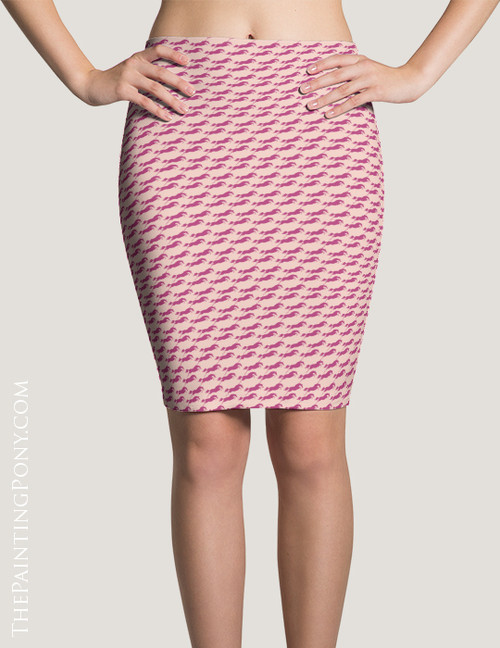 Pink Jumping Horses Pattern Equestrian Pencil Skirt
