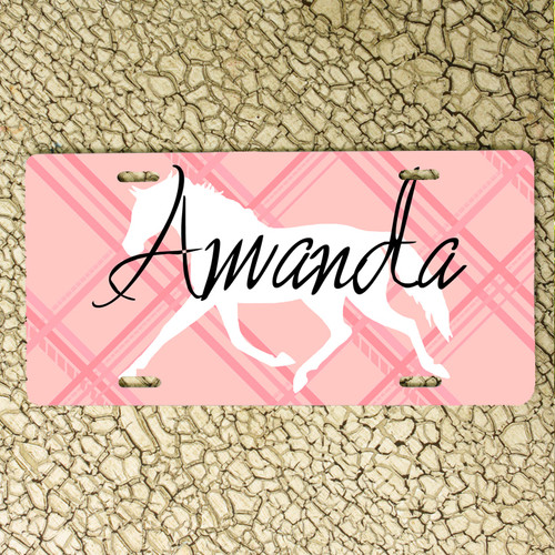 Personalized Pink Plaid Trotting Horse Vanity License Plate