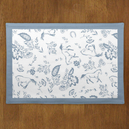 Blue and white country floral horse themed place mat