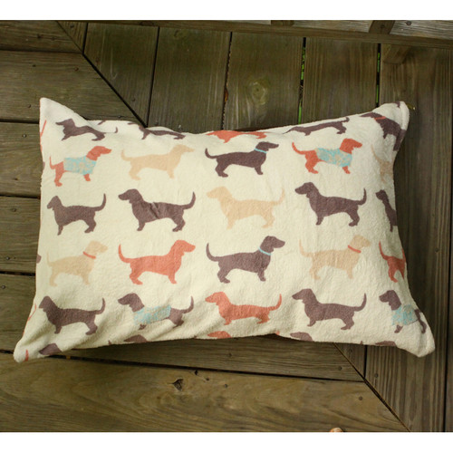 Fun Dachshund Pattern Dog Bed